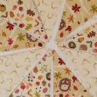 Hedgehog and Leaves 9 flags Cotton Bunting (Price inc P&P)